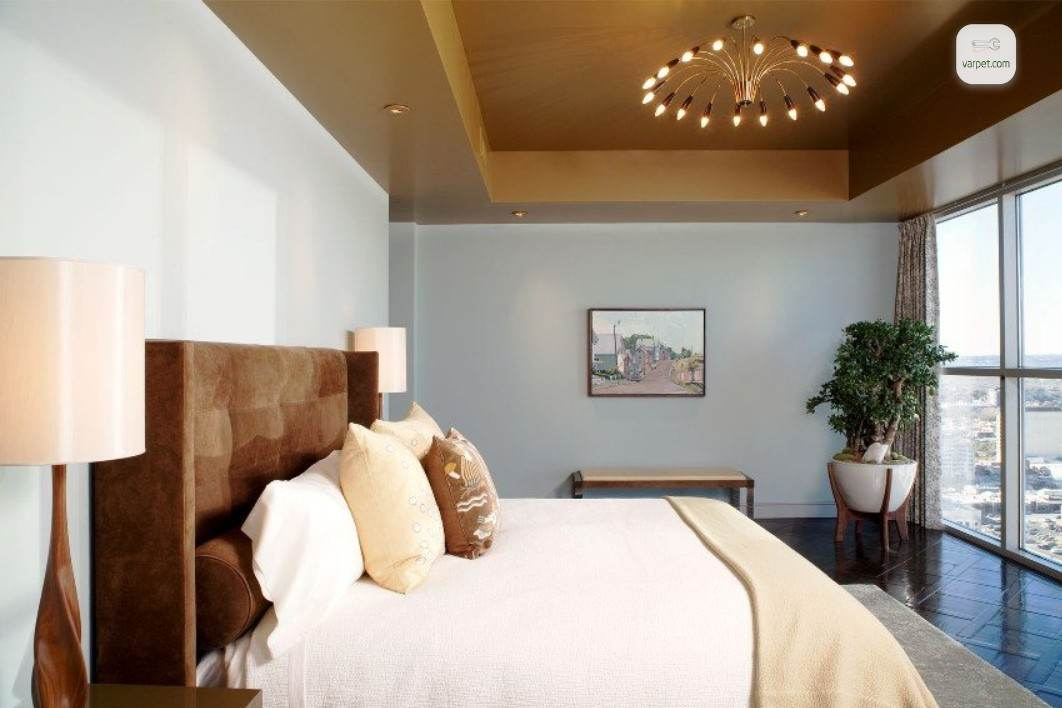 Glossy brown ceiling